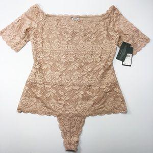 73da30c54009 Guess Tops - Guess Dara Off-The-Shoulder Lace Bodysuit